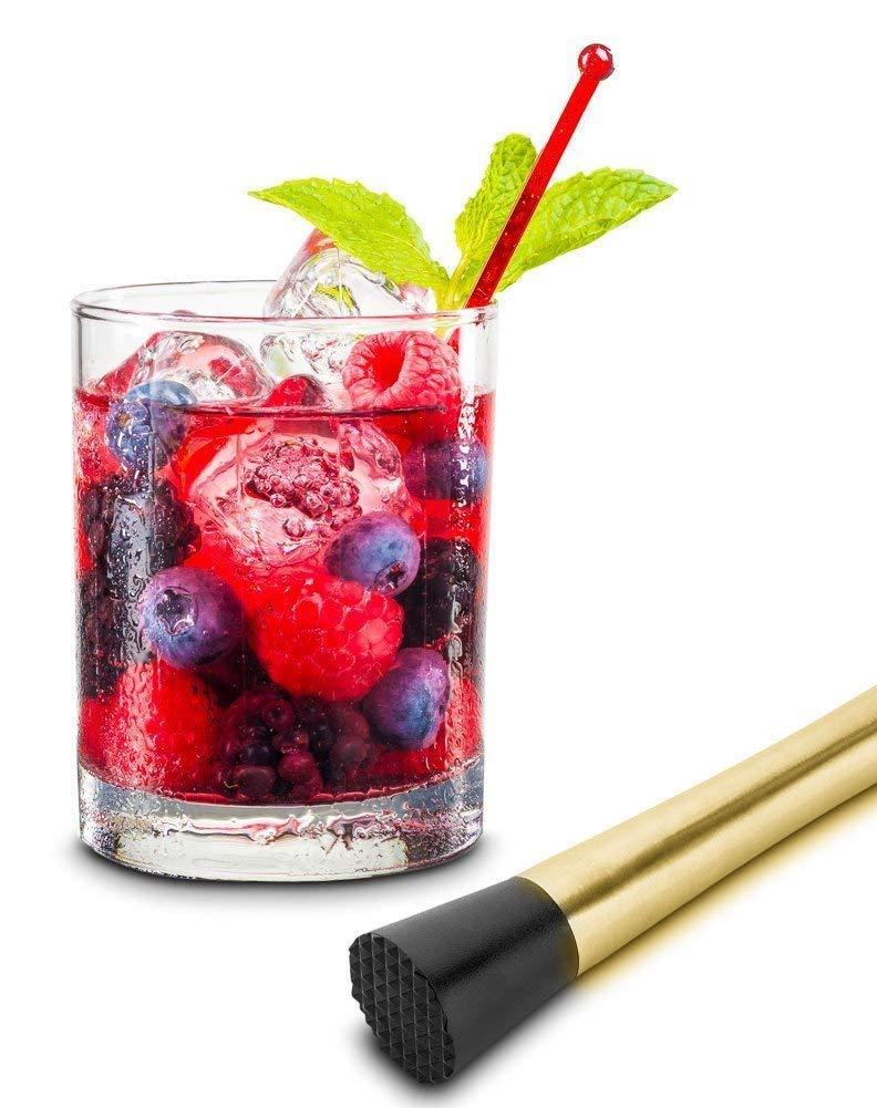 BarSoul Gold Plated Cocktail Muddler Stainless Steel Grooved Nylon Head Fruit Muddler Drink Muddler