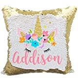 Personalized Mermaid Reversible Sequin Pillow, Custom Unicorn Sequin Pillow For Girls (White/Gold)