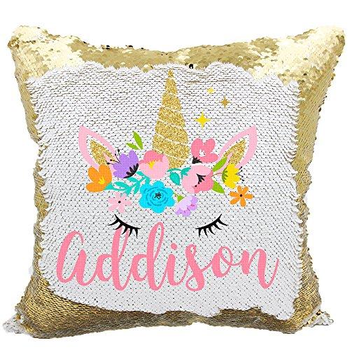 Personalized Mermaid Reversible Sequin Pillow, Custom Unicorn Sequin Pillow for Girls (White/Gold) (Online Pillows Custom)