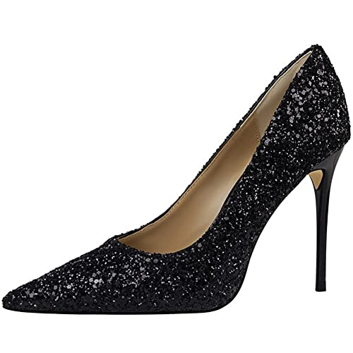 61234459d34 BIGTREE Dress Pumps Women Pointed Toe Stiletto Sexy Shiny Sequins Wedding  Pumps Black 1.5 B(