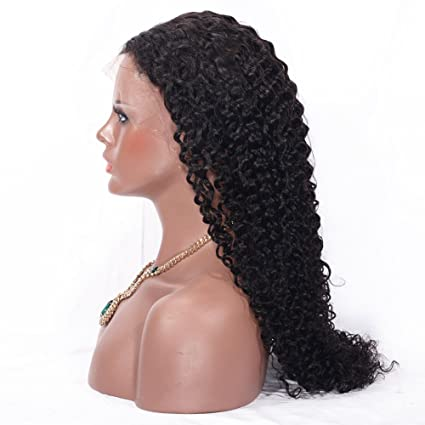 Pinchu - Peluca de pelo de ondulado brasileño con encaje frontal y de encaje completo negro