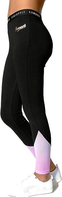 Pineapple Dancewear Girls Dance Leggings Black with Mint Green and Mesh Panels
