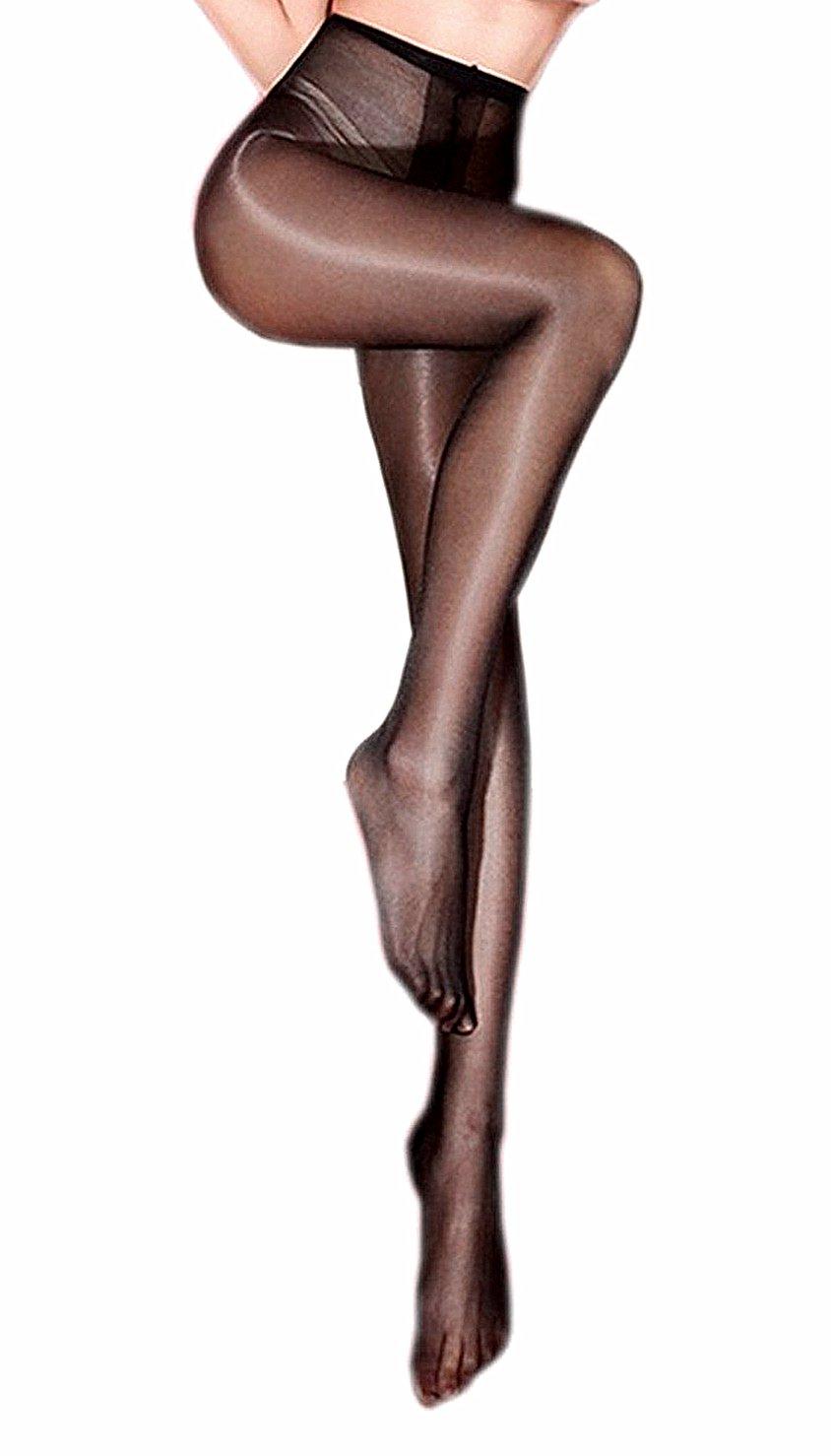 Kffyeye Sheer Pantyhose High Waist Open Crotch Tights Shiny Silk Stockings, Ultra Shimmery Plus Footed 30D Tights (1pcs Black)