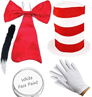 ADULTS CRAZY CAT FANCY DRESS COSTUME SET WITH FACEPAINT BOOK WEEK COSTUME WITH STRIPED RED HAT RED BOW TIE CAT NOSE THIN BLACK CAT TAIL BLACK SHIRT LARGE GLOVES