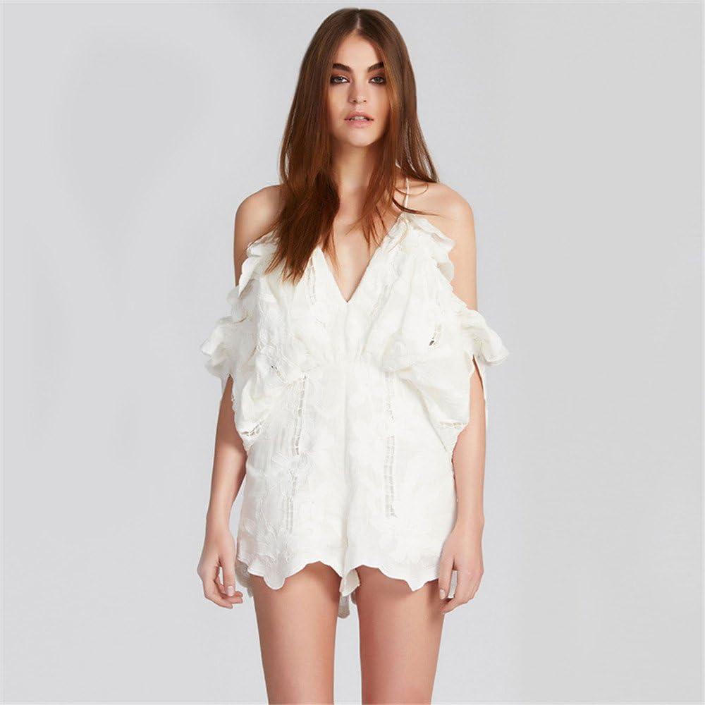 Fenghuavip Summer Short Halter Empire Jumpsuits White V-neck