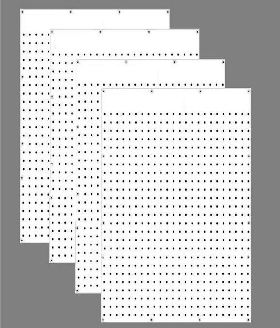 WallPeg Case of 12ea 24''x32'' White Pegboard Panels - Tuff Polypropelene 1/4'' hole Pegboard AM 205