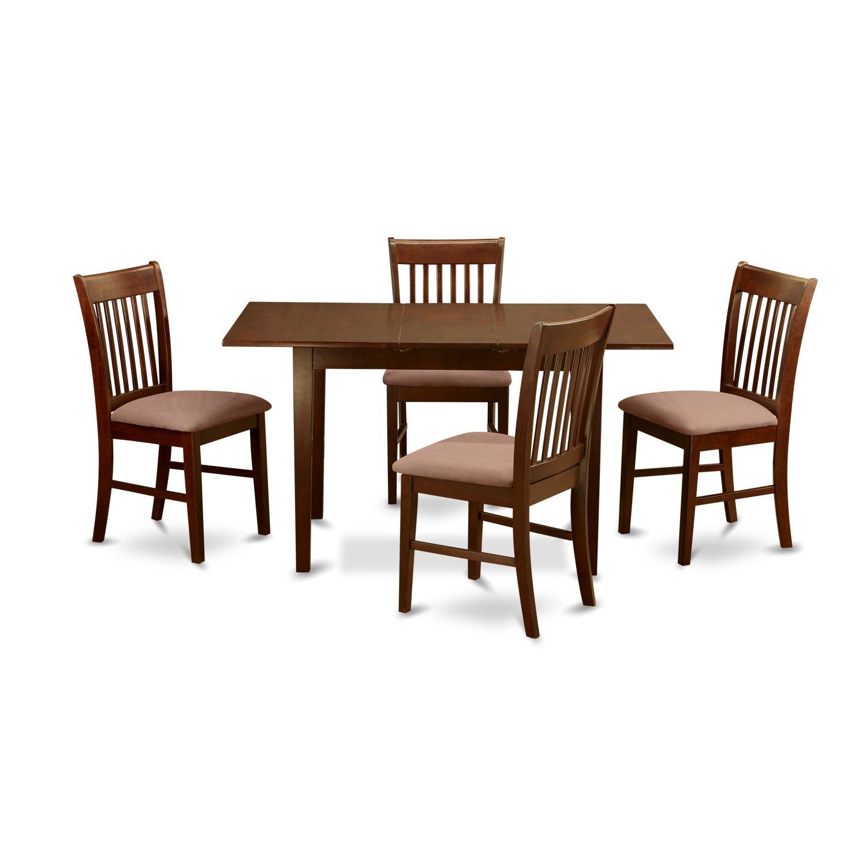 East West Furniture NOFK5-MAH-C 5-Piece Kitchen Nook Dining Table Set,  Mahogany Finish
