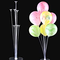 Rozi Decoration Set of Clear Table Desktop Balloon Holder with 7 Balloon Sticks, 7 Balloon Cups and 1 Balloon Base for Birthday | Wedding Party, Holidays, Anniversary Decorations