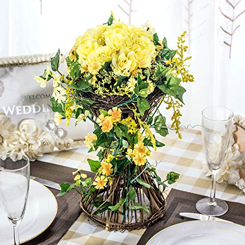 BEGONDIS Artificial Rose Flowers with Rattan Base, 14.9