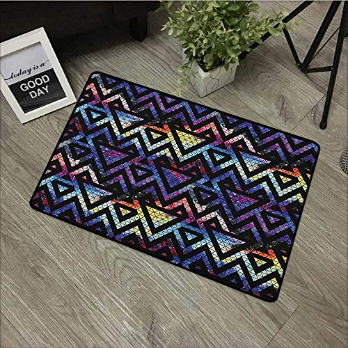 Living room door mat W16 x L24 INCH Geometric,Galaxy Themed Background with Geometrical Shapes Triangles and Lines Lace Pattern, Multicolor Our bottom is non-slip and will not let the baby slip,Door M All Lace Triangle Slip