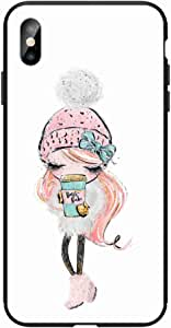 Okteq Case for iPhone X and iphone XS Shock Absorbing PC TPU Full Body Drop Protection Cover matte printed - cute pink girl coffee By Okteq