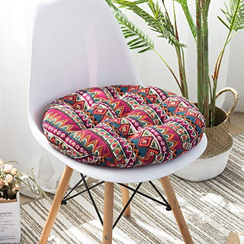 WL Cotton Linen seat Cushion,Japanese seat Pads Round Dining Chair Cushions Thick Floor Cushion-Home car Office Garden -M 40x40cm(16x16inch) (Pads Round Chair)