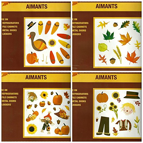 Assorted Fall Themed Refrigerator Magnets Bundle - 4 Pc