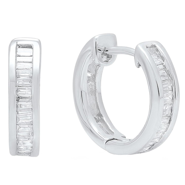 0.18 Carat (ctw) 10K White Gold Baguette Cut White Diamond Ladies Hoop Earrings