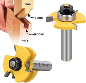 SILIVN Tongue and Groove Set, Router Bit Set, Wood Door Flooring 3 Teeth Adjustable, 1/2 Inch Shank T Shape Wood Milling Cutter Woodworking Tool, 2 Piece