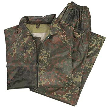 Traje impermeable Mil-Tec, color negro, color Flecktarn Camouflage, tamaño XXXXL