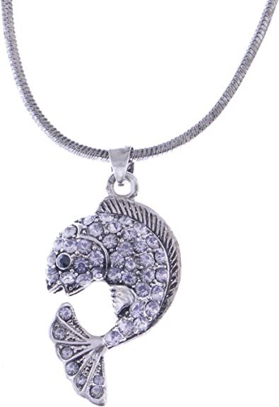 silver tone crystal fish pendant necklace
