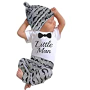 Sunbona 3pcs Set Outfits Infant Baby Boys Print Short Sleeve Blouse+Pants Clothes (6~12months, White)