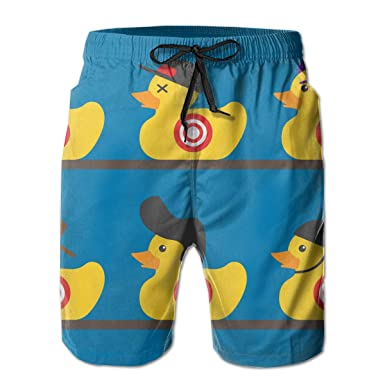 937ee22143 Amazon.com: Mens Casual Rubber Yellow Duck Art 3D Print Graphic Medium  Length Summer Drawstring Beach Shorts Surfing Trunks Pants: Clothing