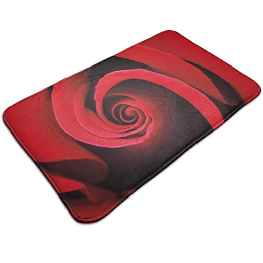 Ejjheadband Bath Mat,Extreme Close Up of Red Rose Bloom ...