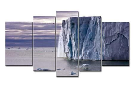 Stampa su tela wall art picture ice cap cielo nuvoloso retreating