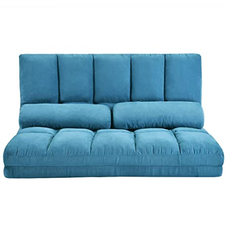 MIERES 1 Double Chaise Lounge Chair Floor Lazy Sofa Couch with Two Pillows for Living Room, Blue1
