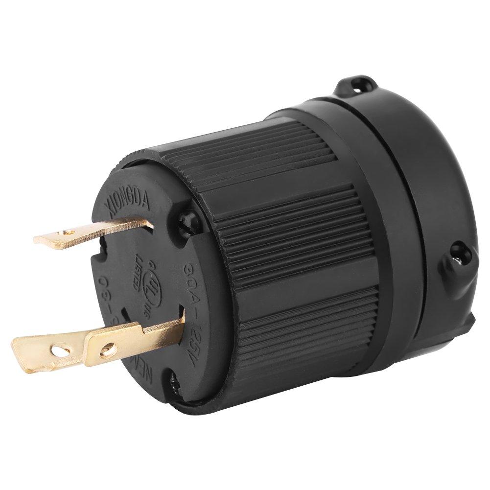 NEMA L5-30P 30 Amp 125 Volt Twist Lock Male Plug USA 3 Pole Industrial Grade Grounding 3-Prong Power Generator Plug