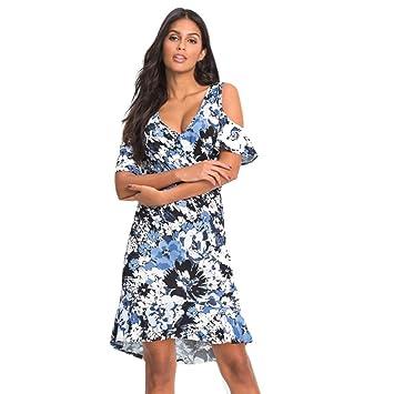 79d45b62895 Janly® Womens Ladies Cut Out Cold Shoulder Floral Print Hanky Hem Top Maxi  Dress Plus