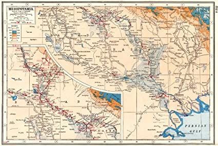 Amazon.com: Iraq. Mesopotamia; Inset Baghdad. First World ...