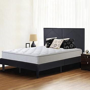 olee sleep 14 inch dura metal faux leather wood slate bed frame diamond queen 14pb01q - Slate Bed Frame