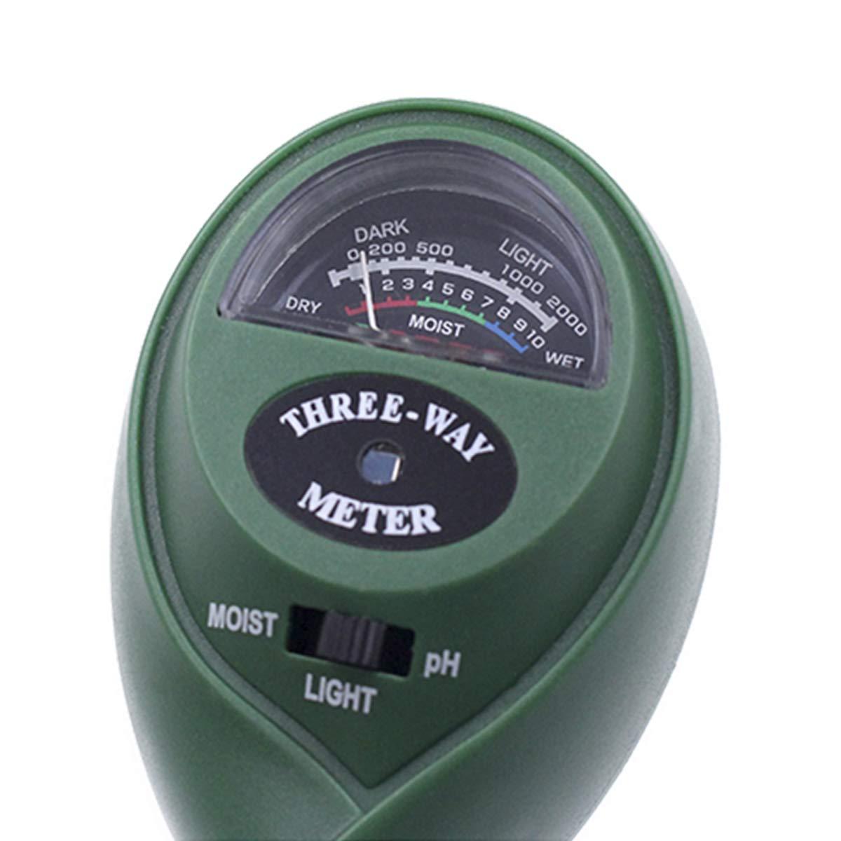 Pflanzen-Bodentester Indoor /& Outdoor Dooppa Bodentester Licht- und pH-S/äure-Tester 3-in-1 Bodenfeuchtigkeitsmesser Kit f/ür Garten Farm Rasen