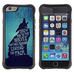 Suave TPU GEL Carcasa Funda Silicona Blando Estuche Caso de protección (para) Apple Iphone 6 / CECELL Phone case / / wolf lead the pack brave heroic text /
