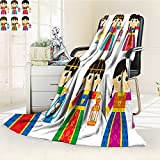 SOCOMIMI Luxury Double-sides Reversible Fleece Blanket girls are wearing old traditional clothes in some arab gulf countries and carry Couch Blanket,Travelling and Camping Blanket(90''x 70'')