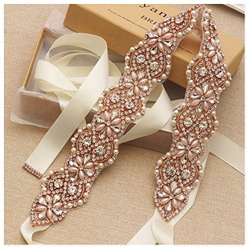 Yanstar Wedding Bridal Belts In Rose Gold Rhinestone Crystal Pearl With Ivory Sash For Wedding Dress Prom Gown-17.7In1.6