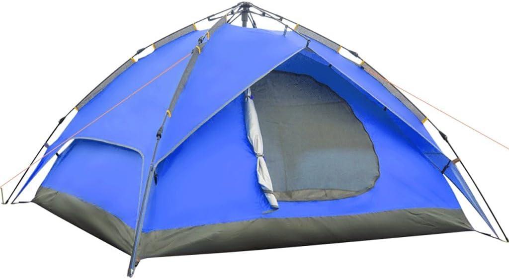 ZYN Zelt Outdoor Multiplayer Doppelschicht Doppeltür Camping Regendicht 3-4 Personen Camping Automatische Zelt Blau