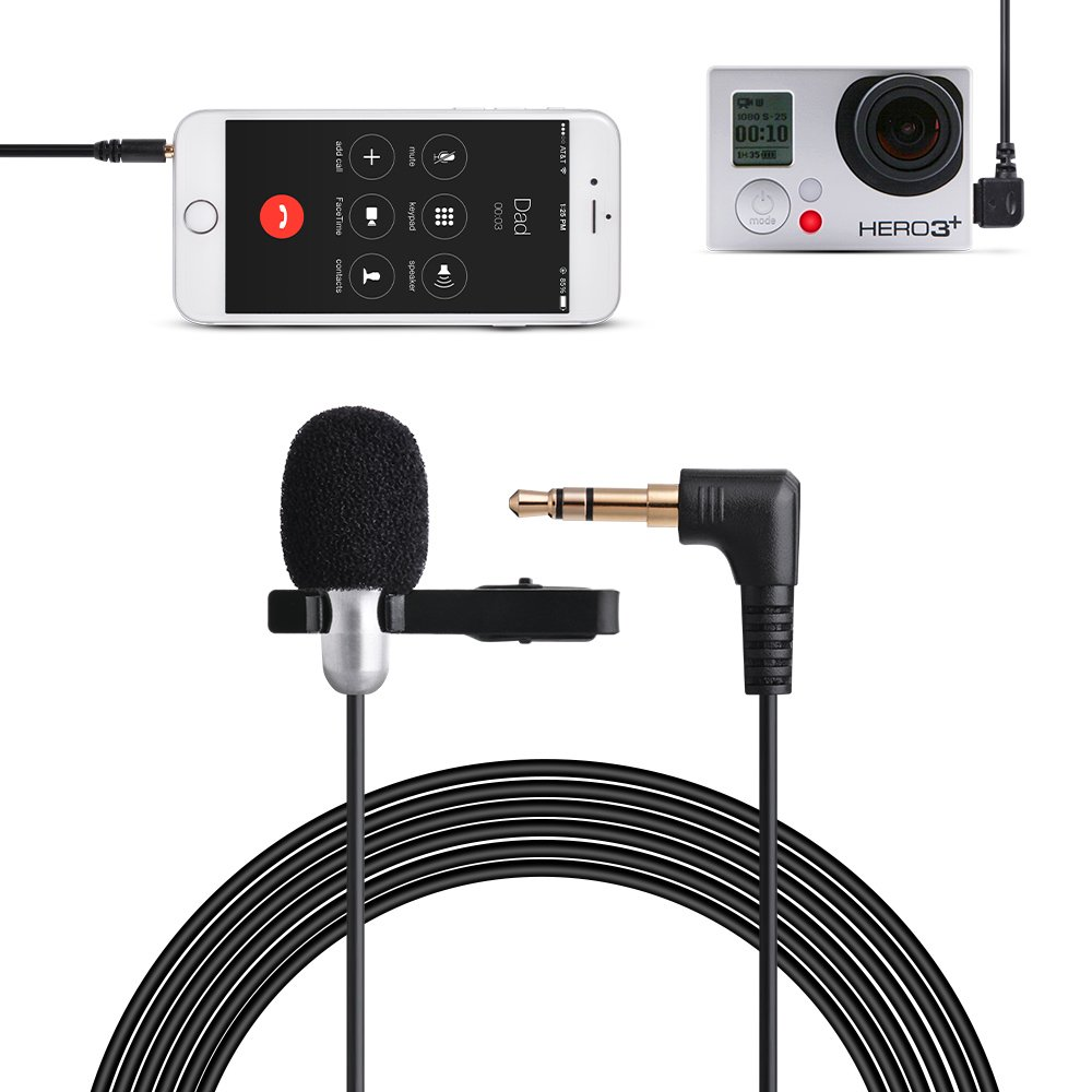 Tycka 3m Clip-on Lavalier Microphone (3.5mm) for Camera, 3.5mm Audio Cable Y Splitter for iOS Android phones, Tablets, PC, Mini usb2.0 to Audio Cable for Gopro 4/3+/3, Omnidirectional, for recording