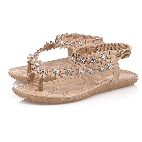 4a26c915ff99f Tenworld Women Summer Bohemia Flat Sandals Flower Beads Beach Flip-Flop  Shoes