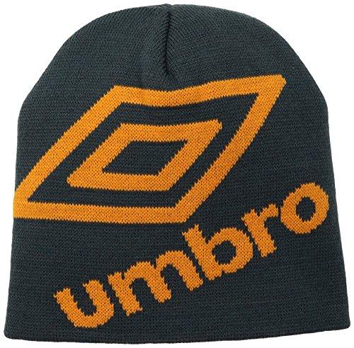 Classic Logo Beanie - Umbro Logo Uncuffed Rib Knit Hat, Classic Orange/Carbon, One Size
