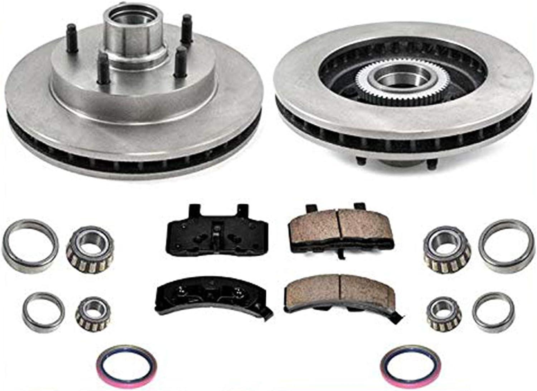 Wheel Hub Ceramic Brake Pad Rotor Front Kit Set for 94-99 Dodge Ram 1500 4WD