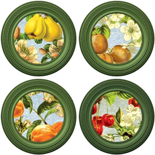 Joster Coasterica 2-in-1 Orchard Silicone Stemware Coaster and Glass Marker, Set of 4 - Glass Stemware Plum