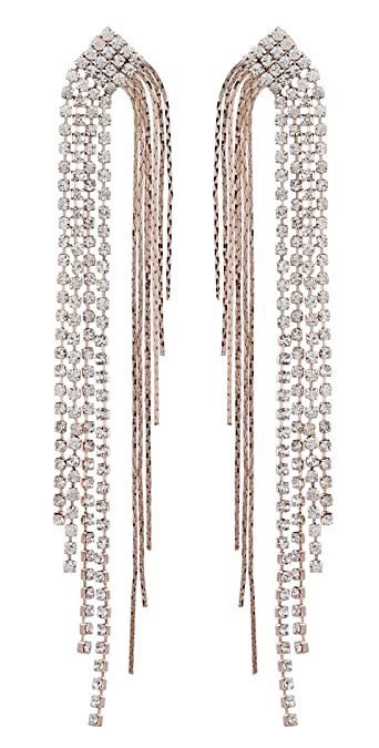 Clip On Earrings - Rose Gold Plated Crystal Zirconia Chandelier With Diamante Strands - Britt RG B1K9MlaeWT