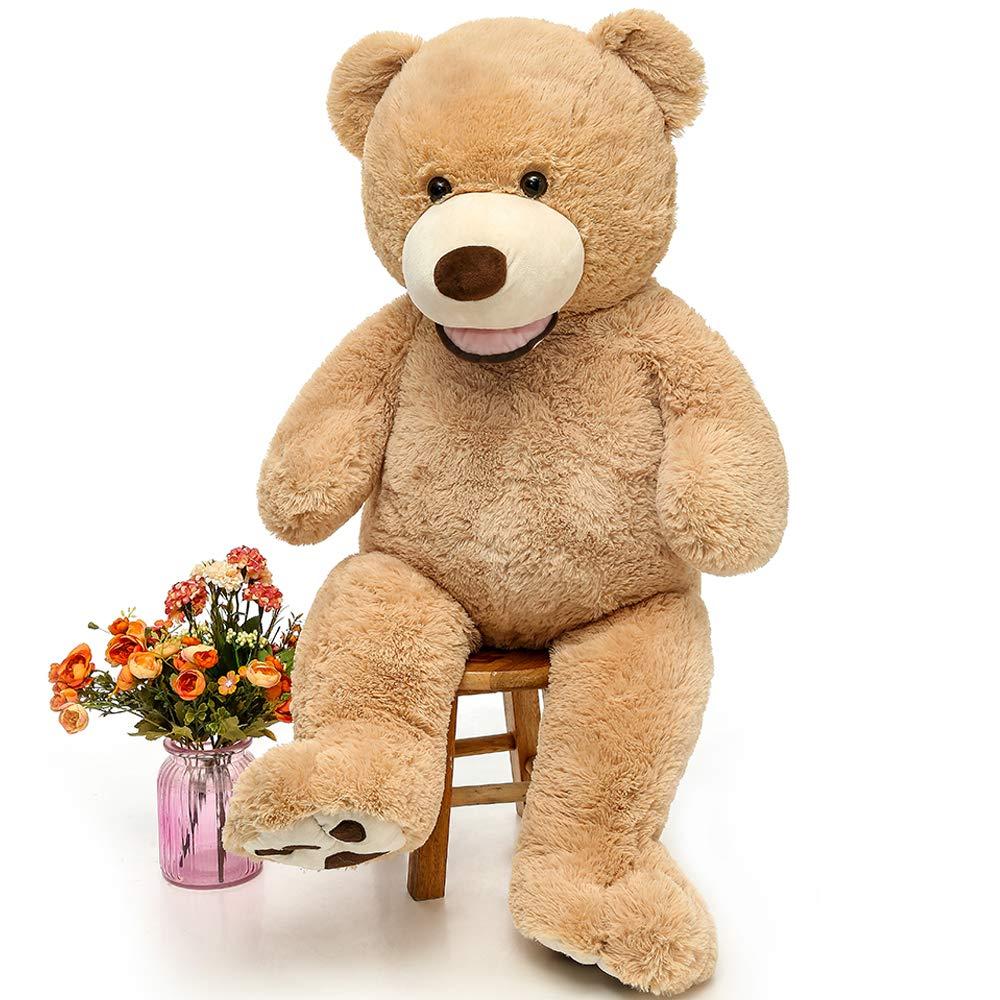 MaoGoLan Giant Teddy Bears Large Plush Stuffed Animals Toy with Footprints Big Teddy Bear for Girlfriend Children 39 Inch,Light Brown by MaoGoLan