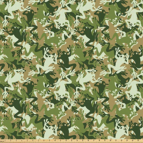 Ambesonne Animal Fabric by The Yard, Skull Camouflage Design with Various Frog Pattern Different Tones Art Print, Microfiber Fabric for Arts and Crafts Textiles & Decor, 2 Yards, Sage Pine Green