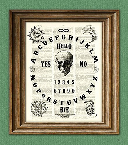 OUIJA BOARD art print original design over an upcycled vintage dictionary page book art]()