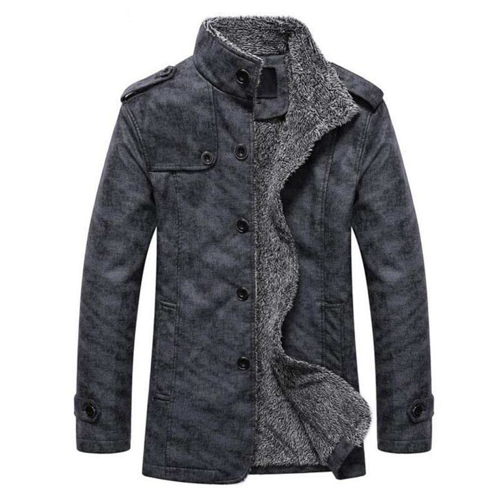 Hot Daoroka Mens Thermal Leather Coat Jacket Slim Fit Button Autumn Winter Casual Fashion Tops Outwear