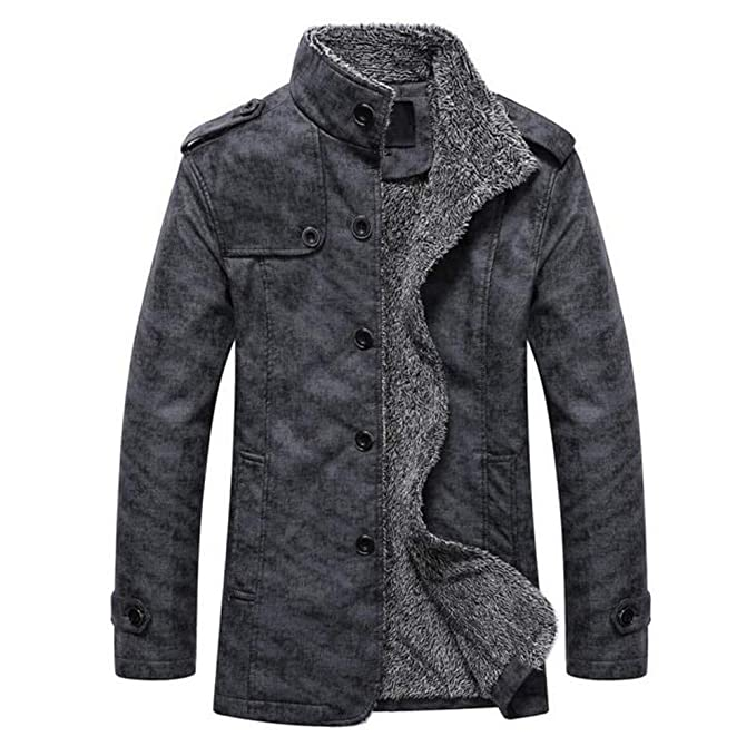 GOVOW 2018 Clothes Leather Jackets for Men Winter Sale Autumn Winter Casual Button Thermal CoatWomen at Amazon Mens Clothing store: