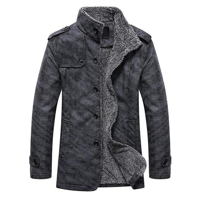 Goddessvan Mens Vintage Jacket Winter Faux Fur Lined Jackets Button Coats Outwear