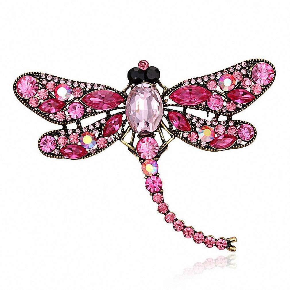 Jana Winkle Shinny Crystal Rhinestone Dragonfly Brooches Women Dress Scarf Brooch Pins Jewelry Accessories Gift 6