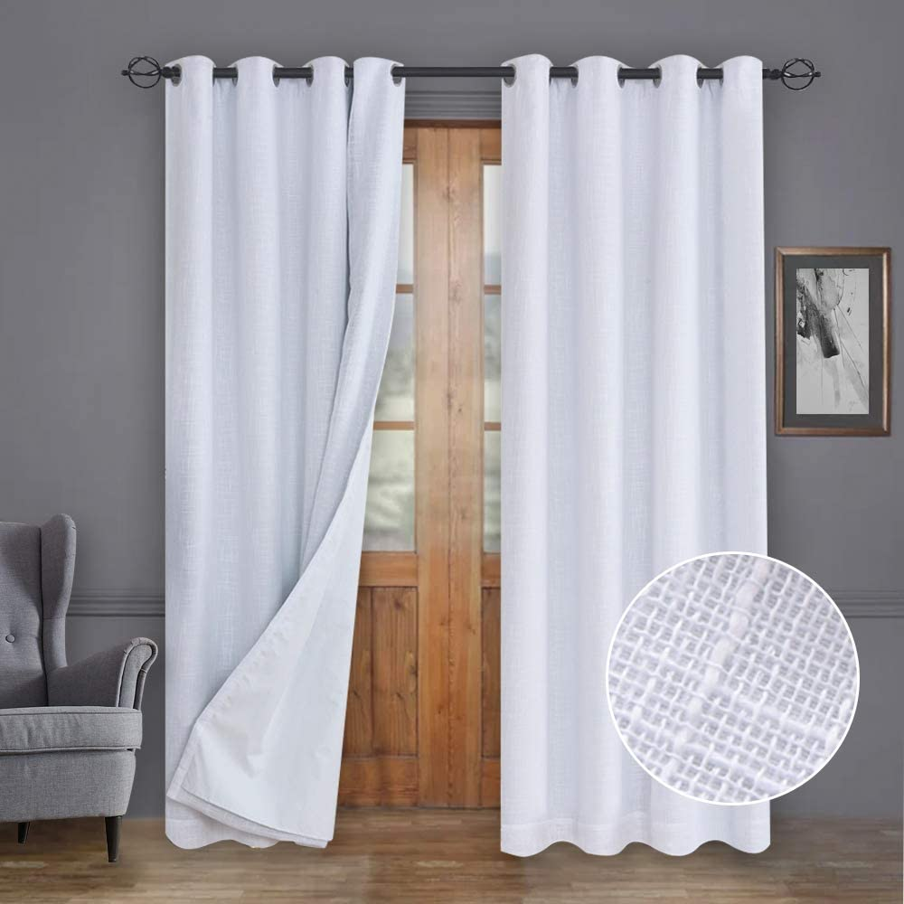 Rose Home Fashion 100% Blackout Curtains, Primitive Linen Look White Blackout Curtains& Blackout Thermal Insulated Liner, Curtains for Living Room/Bedroom,Burlap Curtains-2 Panels, 50x96 White