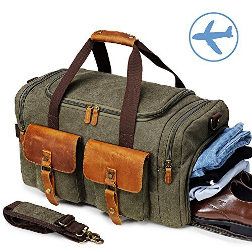 Canvas Duffle Bag Overnight Bags for Men Weekend Travel Duffel Weekender Bags...